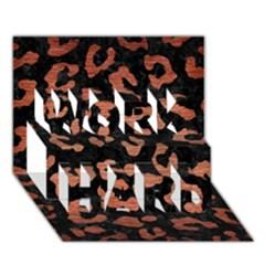 Skin5 Black Marble & Copper Brushed Metal (r) Work Hard 3d Greeting Card (7x5) by trendistuff