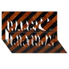 Stripes3 Black Marble & Brown Burl Wood Happy Birthday 3d Greeting Card (8x4) by trendistuff