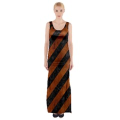 Stripes3 Black Marble & Brown Burl Wood Maxi Thigh Split Dress by trendistuff