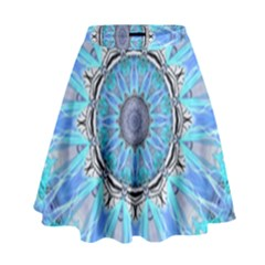 Sapphire Ice Flame, Light Bright Crystal Wheel High Waist Skirt by DianeClancy