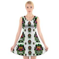 Monster Trolls In Fashion Shorts V Neck Sleeveless Skater Dress by pepitasart