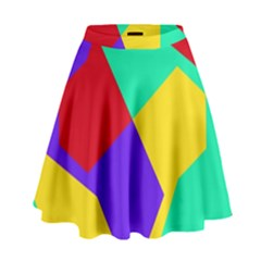 Colorful misc shapes                                                    High Waist Skirt by LalyLauraFLM