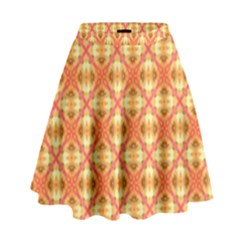 Peach Pineapple Abstract Circles Arches High Waist Skirt by DianeClancy