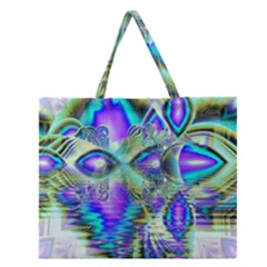 Abstract Peacock Celebration, Golden Violet Teal Zipper Large Tote Bag by DianeClancy