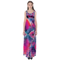 Cosmic Heart of Fire, Abstract Crystal Palace Empire Waist Maxi Dress