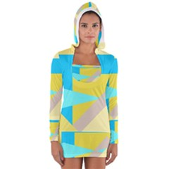 Blue yellow shapes                                                        Women s Long Sleeve Hooded T-shirt by LalyLauraFLM