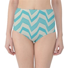 Blue Waves Pattern                                                         High Waist Bikini Bottoms by LalyLauraFLM