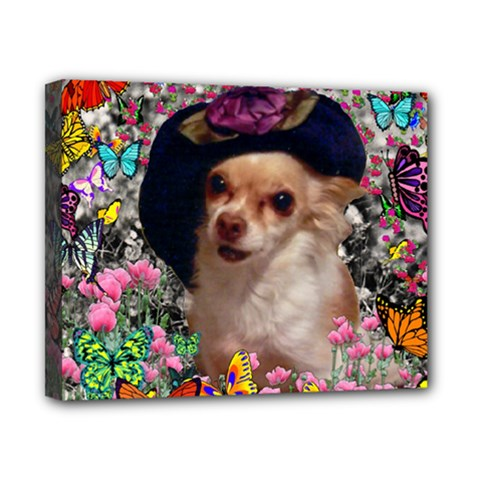 Chi Chi In Butterflies, Chihuahua Dog In Cute Hat Canvas 10  X 8  by DianeClancy