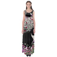 Freckles In Flowers Ii, Black White Tux Cat Empire Waist Maxi Dress by DianeClancy