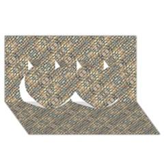 Cobblestone Geometric Texture Twin Hearts 3d Greeting Card (8x4)  by dflcprints