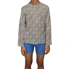 Cobblestone Geometric Texture Kid s Long Sleeve Swimwear by dflcprintsclothing