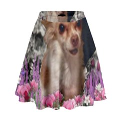 Chi Chi In Flowers, Chihuahua Puppy In Cute Hat High Waist Skirt by DianeClancy