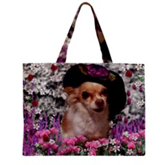 Chi Chi In Flowers, Chihuahua Puppy In Cute Hat Mini Tote Bag by DianeClancy