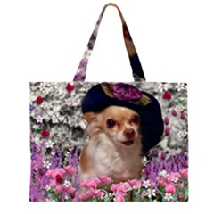 Chi Chi In Flowers, Chihuahua Puppy In Cute Hat Zipper Large Tote Bag by DianeClancy