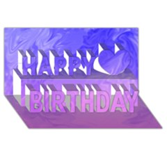 Ombre Purple Pink Happy Birthday 3d Greeting Card (8x4)  by BrightVibesDesign