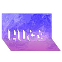 Ombre Purple Pink HUGS 3D Greeting Card (8x4)  by BrightVibesDesign