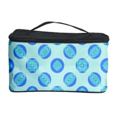 Pastel Turquoise Blue Retro Circles Cosmetic Storage Case by BrightVibesDesign