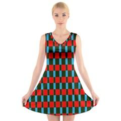 Black red rectangles pattern                                                      V-Neck Sleeveless Dress