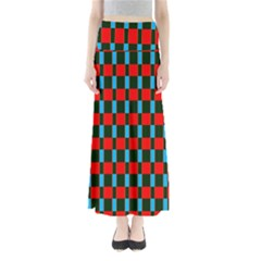 Black Red Rectangles Pattern            Women s Maxi Skirt by LalyLauraFLM