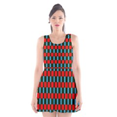 Black Red Rectangles Pattern                                                          Scoop Neck Skater Dress by LalyLauraFLM
