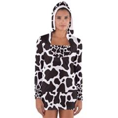 Cow Pattern Women s Long Sleeve Hooded T Shirt by sifis