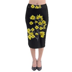 Sunflowers Over Black Midi Pencil Skirt by dflcprintsclothing