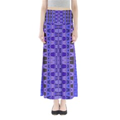 Blue Black Geometric Pattern Maxi Skirts by BrightVibesDesign