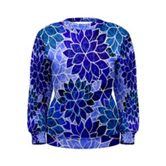 Azurite Blue Flowers Women s Sweatshirt by KirstenStar