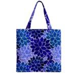 Azurite Blue Flowers Zipper Grocery Tote Bag