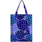 Azurite Blue Flowers Zipper Classic Tote Bag
