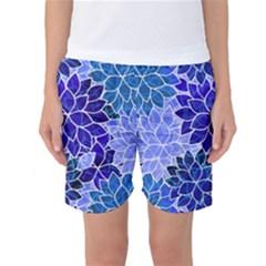 Azurite Blue Flowers Women s Basketball Shorts by KirstenStar