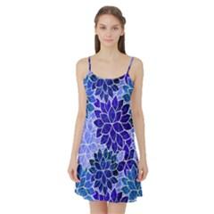 Azurite Blue Flowers Satin Night Slip by KirstenStar