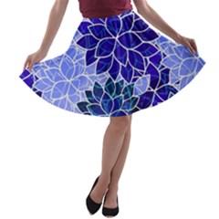 Azurite Blue Flowers A Line Skater Skirt by KirstenStar