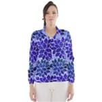 Azurite Blue Flowers Wind Breaker (Women)