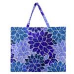 Azurite Blue Flowers Zipper Large Tote Bag