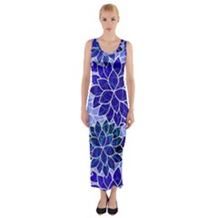 Azurite Blue Flowers Fitted Maxi Dress by KirstenStar