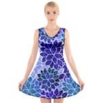 Azurite Blue Flowers V-Neck Sleeveless Skater Dress