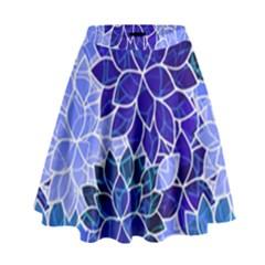Azurite Blue Flowers High Waist Skirt by KirstenStar