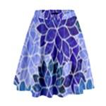 Azurite Blue Flowers High Waist Skirt