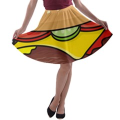 Cheeseburger A Line Skater Skirt by sifis
