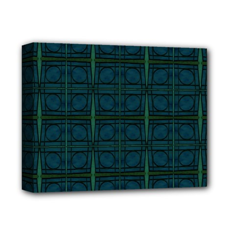 Dark Blue Teal Mod Circles Deluxe Canvas 14  X 11  by BrightVibesDesign