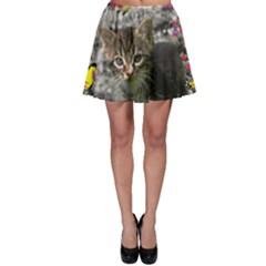Emma In Butterflies I, Gray Tabby Kitten Skater Skirt by DianeClancy