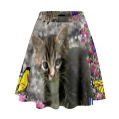 Emma In Butterflies I, Gray Tabby Kitten High Waist Skirt by DianeClancy