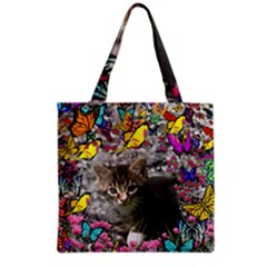 Emma In Butterflies I, Gray Tabby Kitten Grocery Tote Bag by DianeClancy