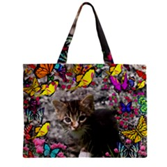 Emma In Butterflies I, Gray Tabby Kitten Zipper Mini Tote Bag by DianeClancy