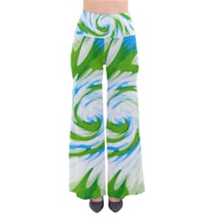 Tie Dye Green Blue Abstract Swirl Pants by BrightVibesDesign