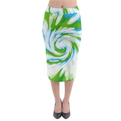 Tie Dye Green Blue Abstract Swirl Midi Pencil Skirt by BrightVibesDesign