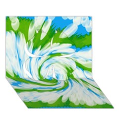 Tie Dye Green Blue Abstract Swirl Clover 3d Greeting Card (7x5)  by BrightVibesDesign