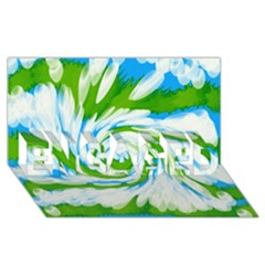 Tie Dye Green Blue Abstract Swirl Engaged 3d Greeting Card (8x4)  by BrightVibesDesign