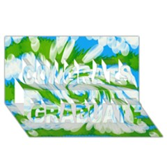Tie Dye Green Blue Abstract Swirl Congrats Graduate 3d Greeting Card (8x4)  by BrightVibesDesign